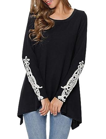 df1f1d4260b Lookbook Store Women s Casual Crochet Long Sleeve Irregular Loose Tunic Top  Blouse Shirt Black Size Small