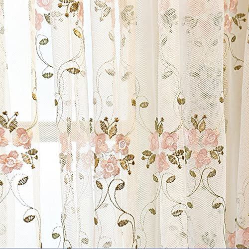 WPKIRA 1 Panel Romantic Sheer Drape Lace Curtain Voile Rod Pocket Sheer Curtain 84 inch Long Pink Flower Embroidery Window Treatments Panels
