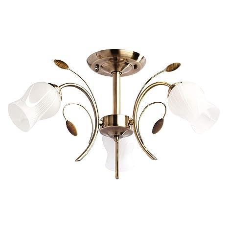 DeMarkt 256018103 Lámpara de Techo Floral Elegante Color Bronce Antiguo Plafones de Vidrio Mate Para Cocina Dormitorio 3 x 60W E14