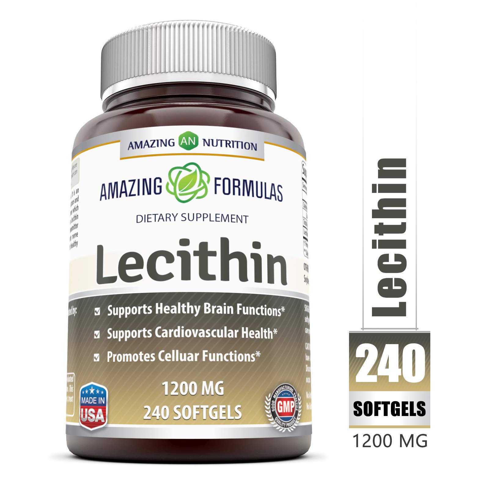 Amazing Formulas Lecithin Dietary Supplement * 1200 mg High Potency Lecithin Softgels (Non-GMO) * Promotes Brain & Cardiovascular Health * Aids in Cellular Activities * 240 Softgels by Amazing Nutrition
