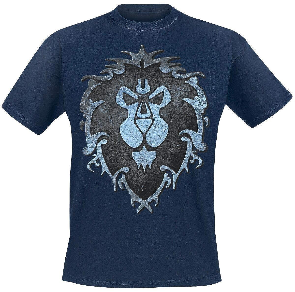 Warcraft Maglietta da Uomo World of Alliance Logo Cotton Blue