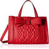 Betsey Johnson Womens Quilted Bow Satchel