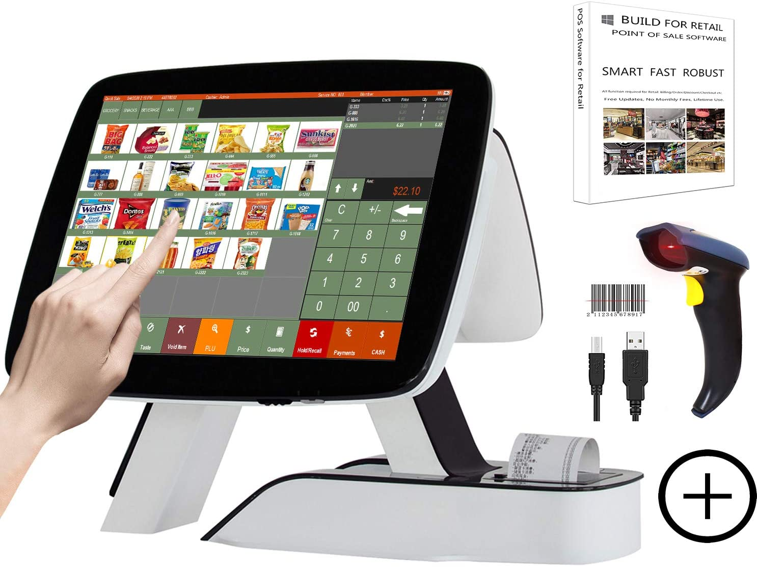 ZHONGJI All in One Point of Sale 15'' Touch Screen Cash Register with Customer Display Built-in 2 1/4'' 58MM Thermal Printer Software for Retail Stores POS System