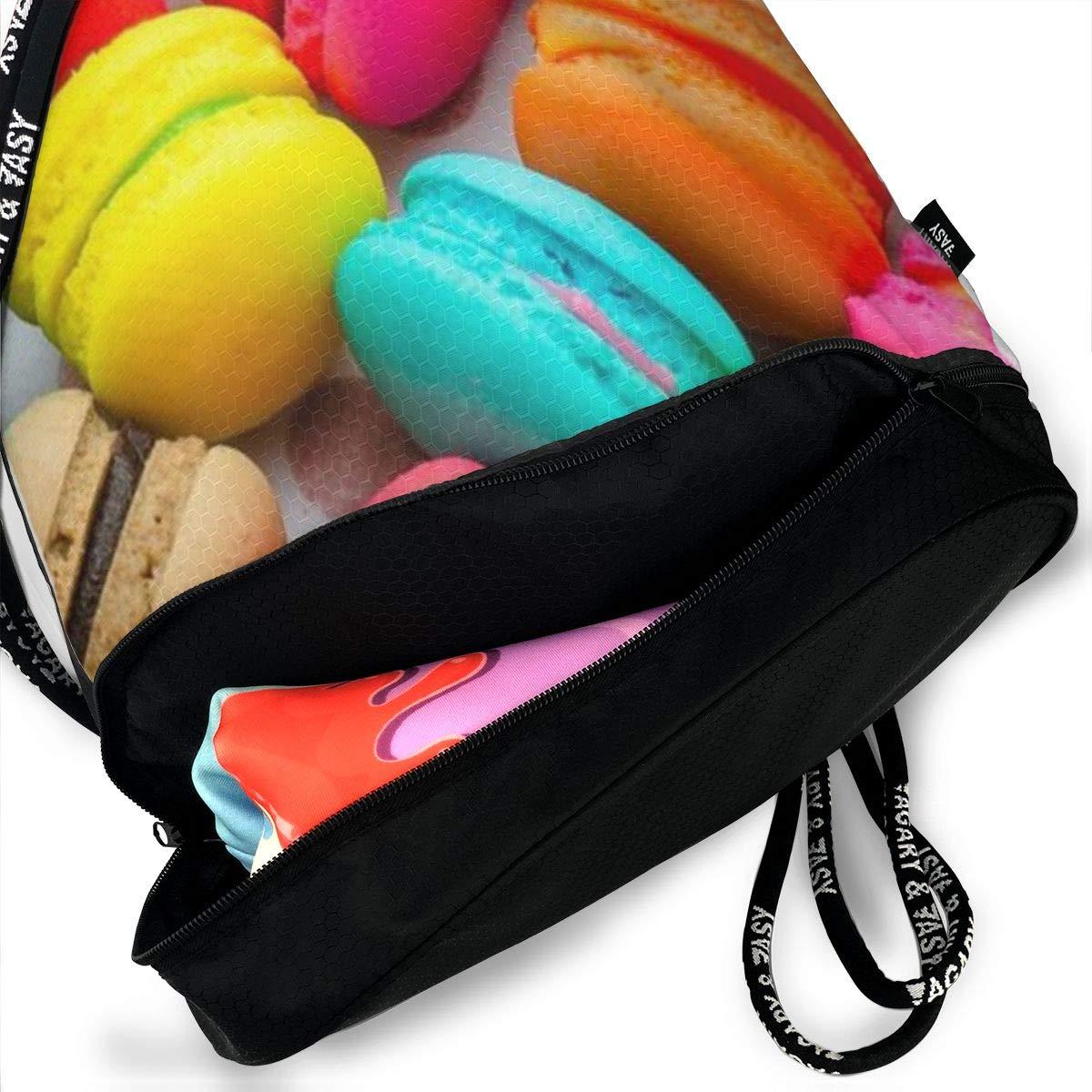 Macarons 3D Drawstring Bag Sport Gym Travel Bundle Backpack Pack Beam Mouth Shoulder Bags