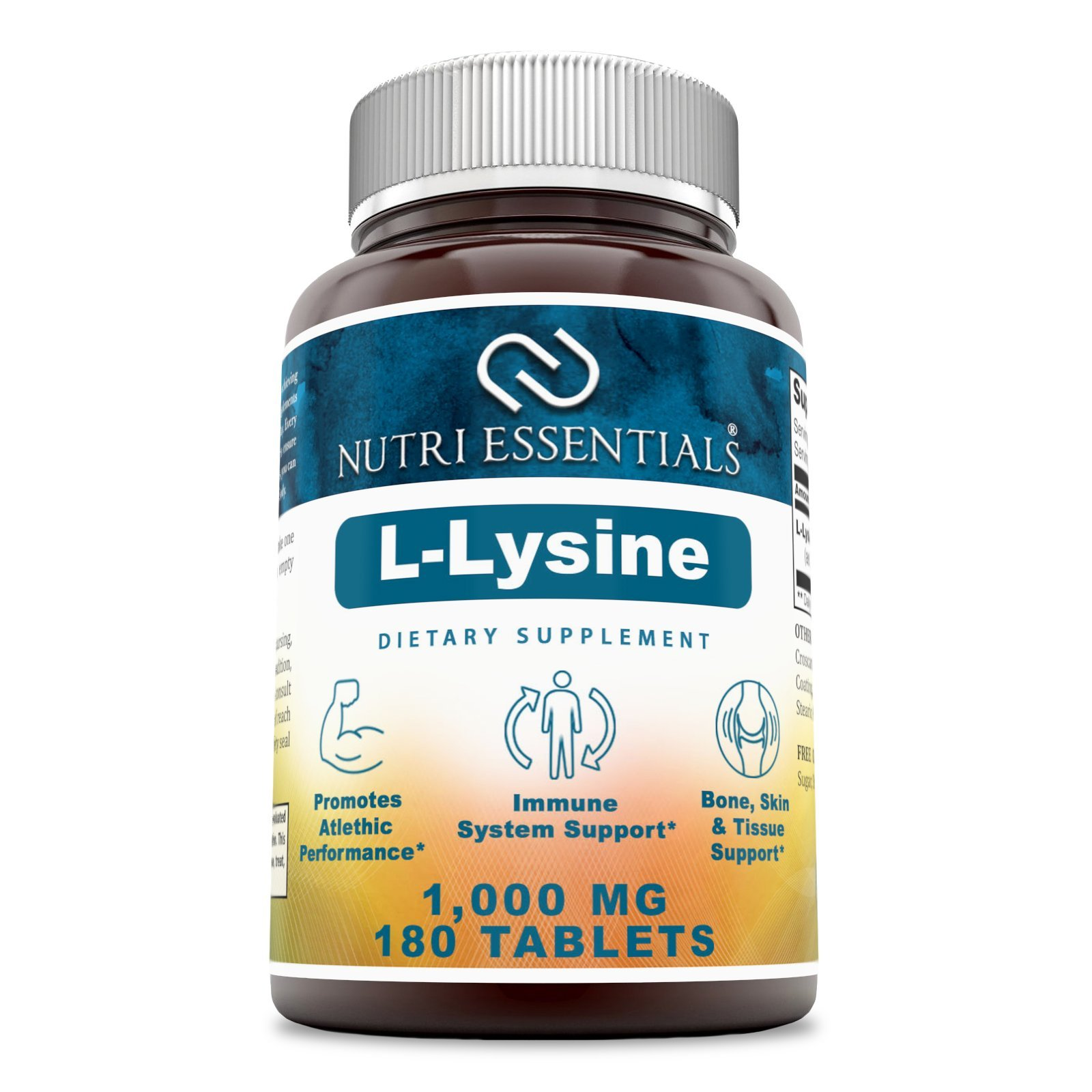 Nutri Essentials L-Lysine - 1000 mg 180 Tablets - Commonly Used for Cold Sores, Immune Support, Respiratory Health & More by Nutri Essentials