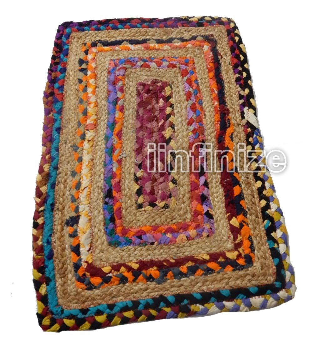 Tappetino da Yoga Soggiorno Etnico Juta Rotondo fermaporta per Interni ed Esterni Cotone Iuta Rettangolare Intrecciato fermaporta Pray IINFINIZE Indiano Fatto a Mano 45,7/cm zerbino