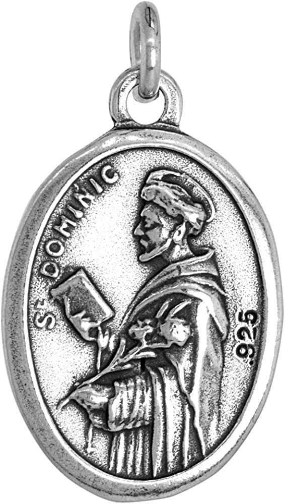 Sterling Silver St Dominic and Queen of the Most Holy Rosary Medal 1 inch 0.8mm Chain