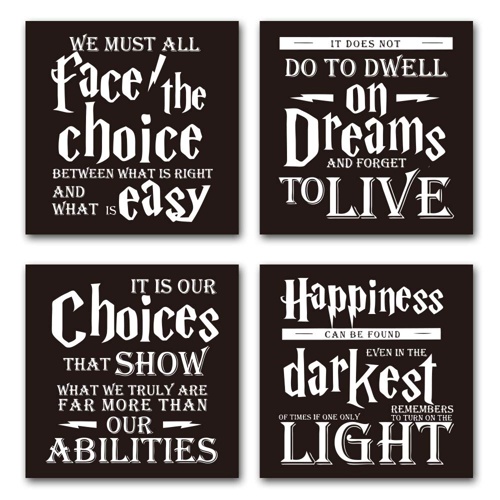 Harry Potter Quotes & Sayings Coasters - Set of 4 Coasters for Drinks - 4''x 4x 0.19'' Cork Backing - Great Harry Potter Gifts Home & Office Decor by akeke