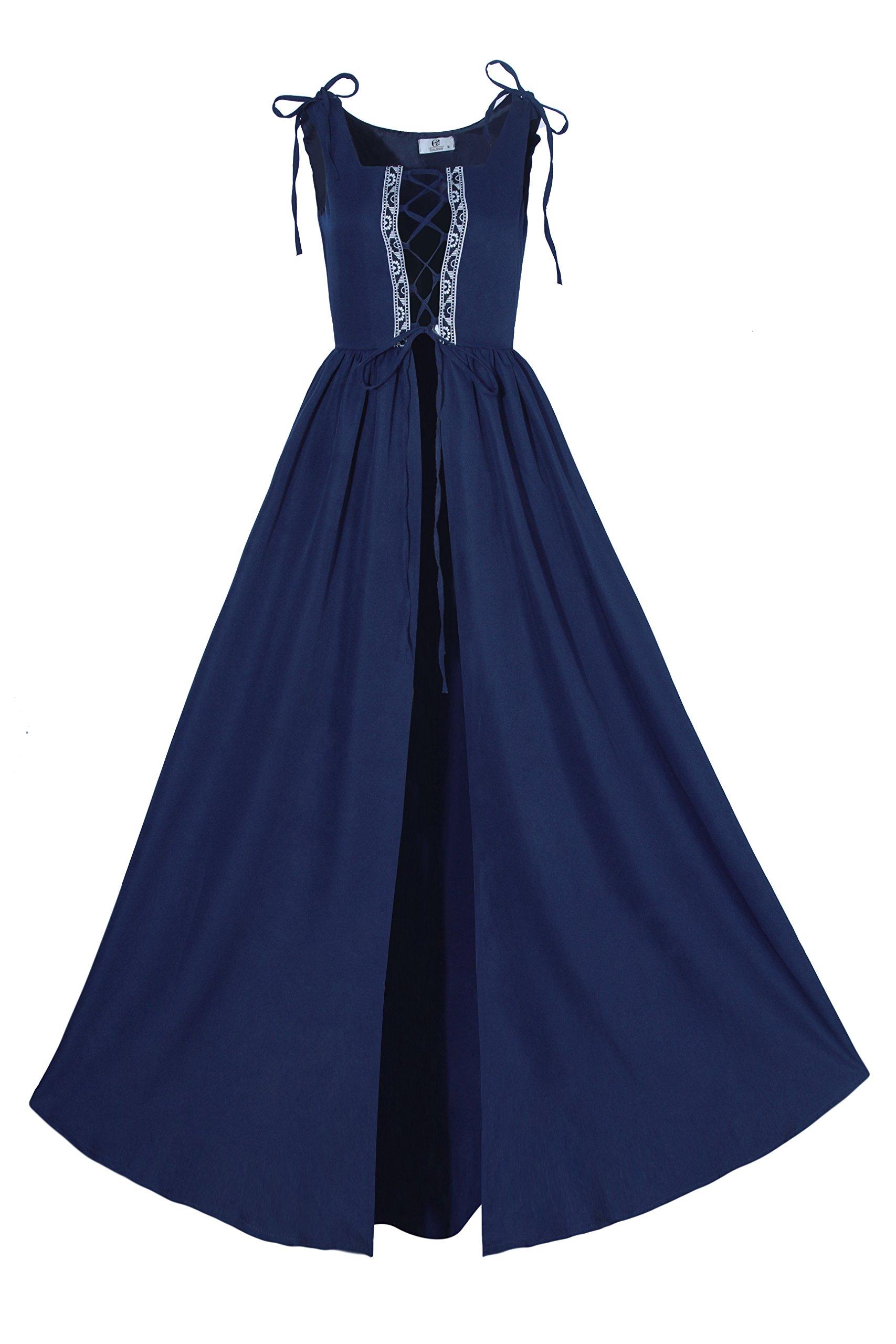 Lemail Womens Renaissance Irish Overdress Medieval Pirate Peasant Costume Coat Navy Blue L