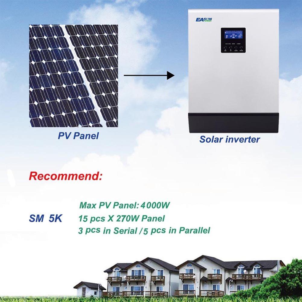 Solar Inverter 5Kva 4000W Off Grid Inverter 24V to 230V 60A MPPT Inverter Pure Sine Wave Hybrid Inverter 60A AC Charger