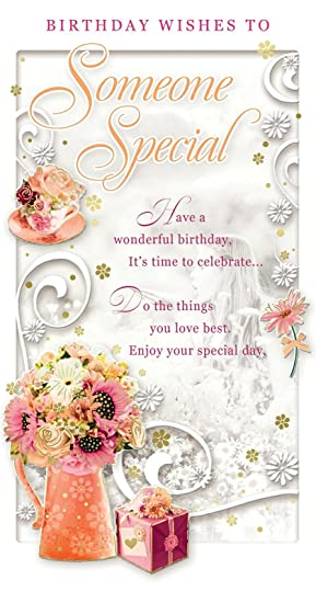 someone special birthday card happy birthday flower bouquet