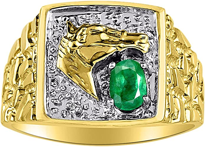 Mens Emerald /& Diamond Ring Sterling Silver or Yellow Gold Plated Band Horse Ring