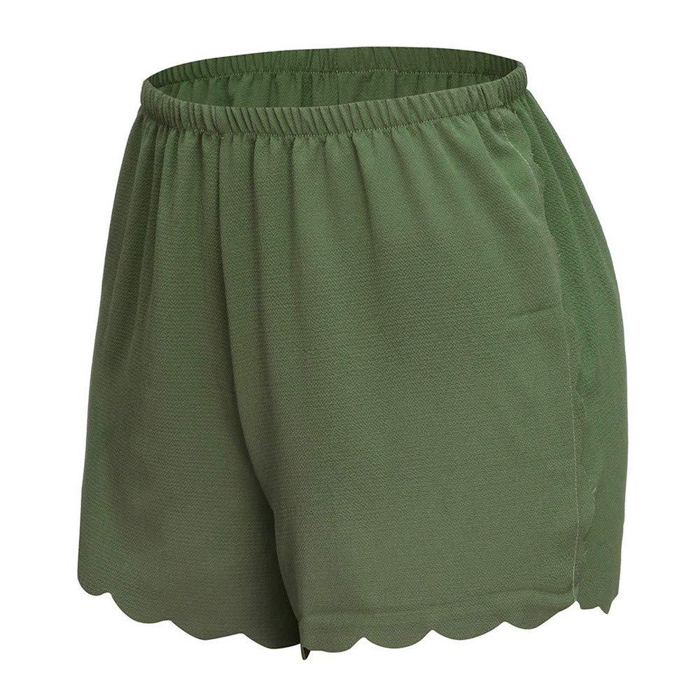 Loose Solid Elastic Waist Scalloped Casual Chiffon Shorts Pants wodceeke Women Summer Beach Shorts