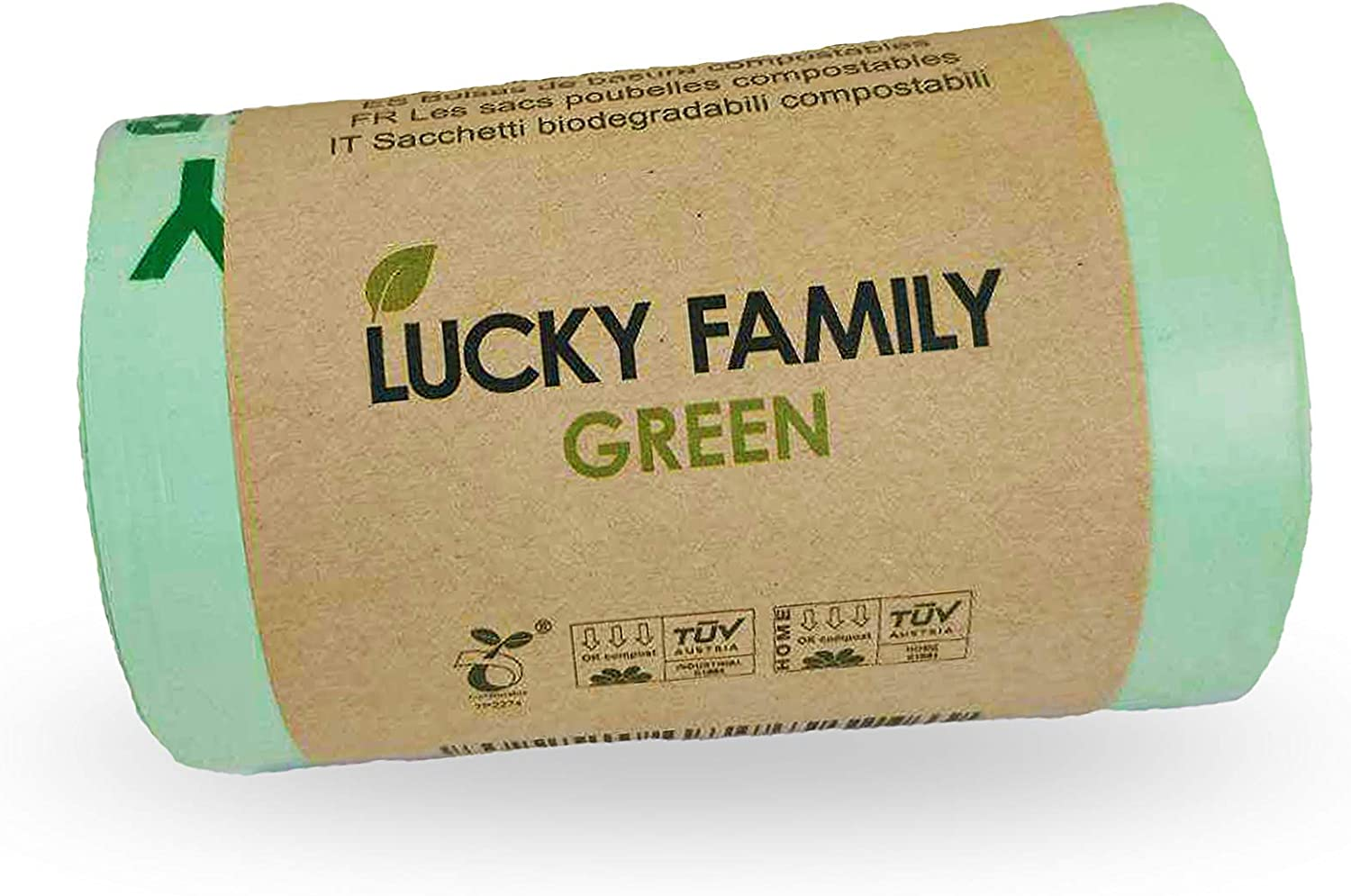 Lucky Family Green Compost Bags for Kitchen Countertop Bin 1.3 up to 1.6 Gallon - 100% Compostable Food Waste Trash Repurpose - Perfect Biodegradable Organic Eco Friendly - 50 Bags per Roll