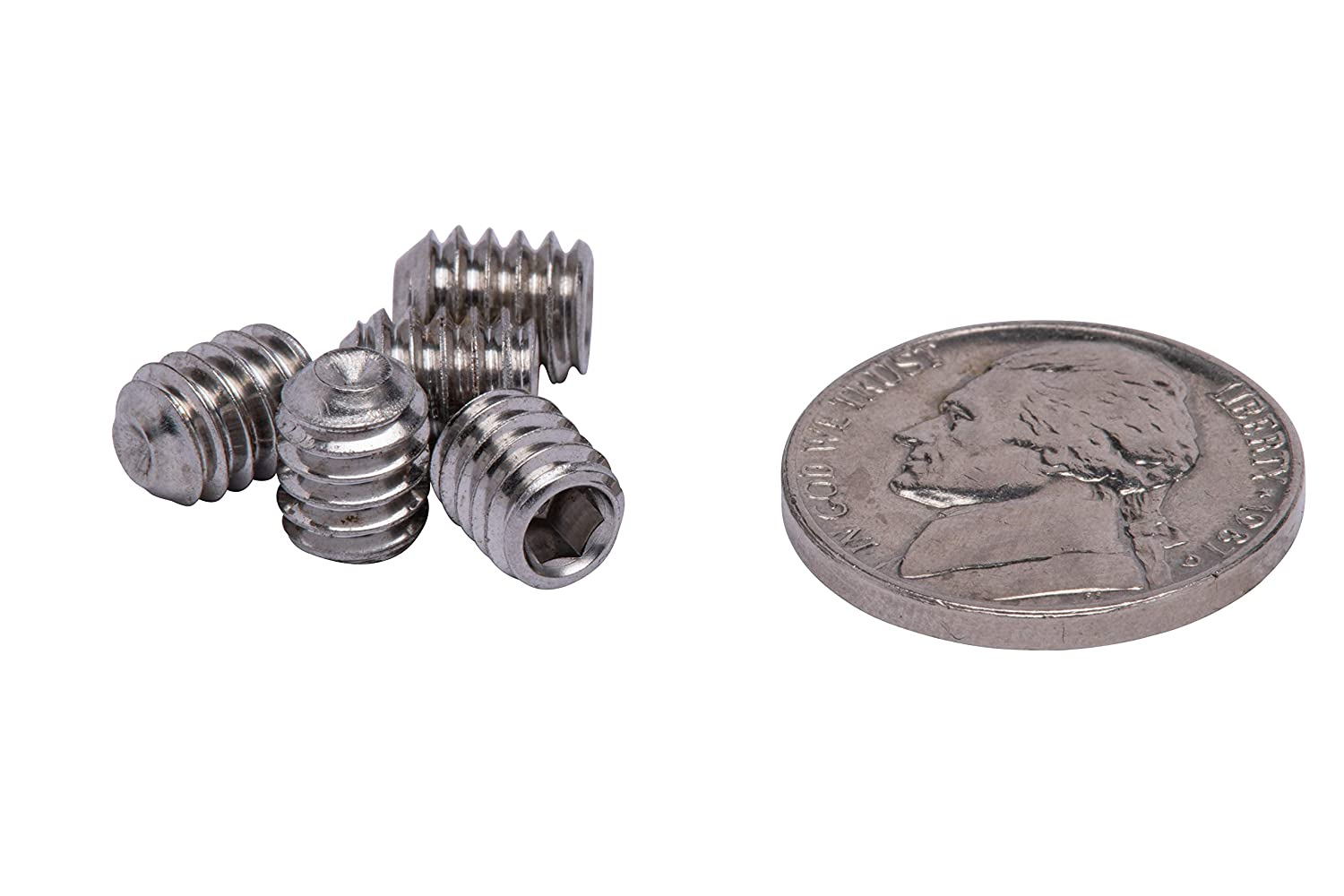 18-8 Stainless Steel Screws by Bolt Dropper 304 50 pc #8-32 X 1 Stainless Set Screw with Hex Allen Head Drive and Oval Point