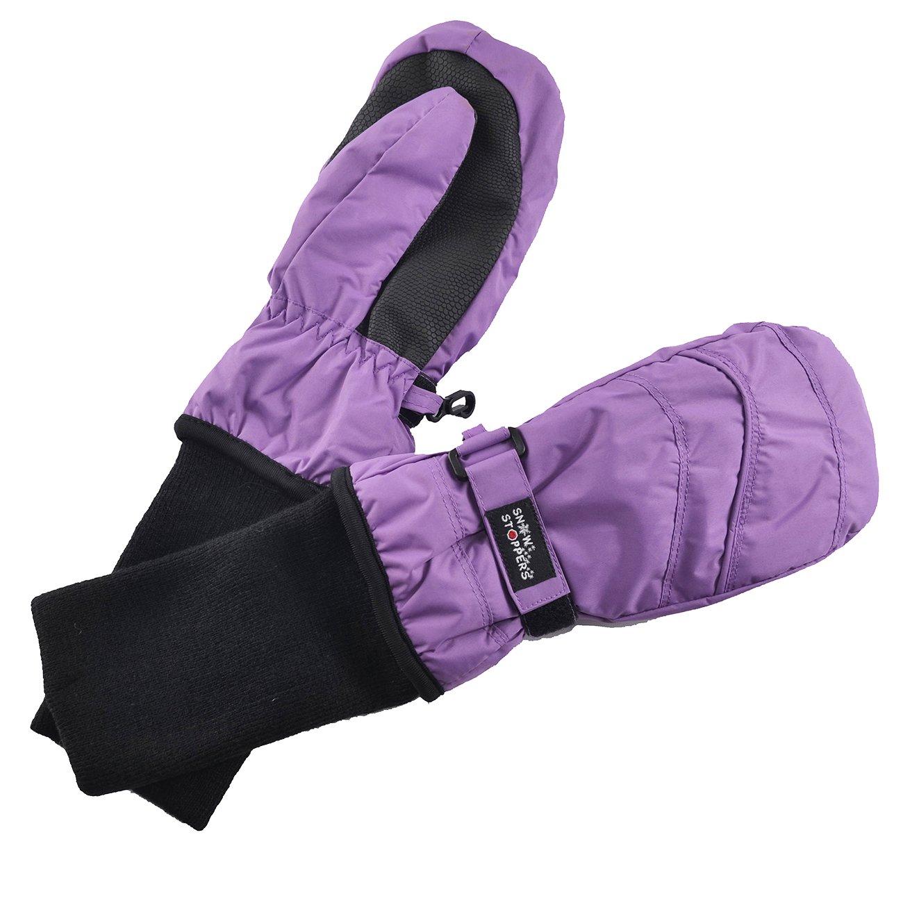 SnowStoppers Kid's Waterproof Stay On Winter Nylon Mittens Medium / 2-5 Years Deep Lilac