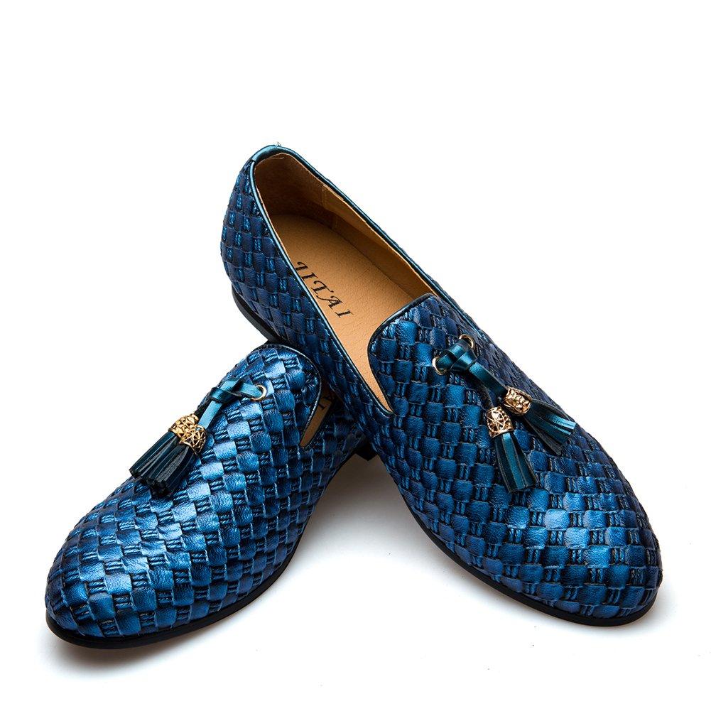 JITAI Men's Vintage Velvet Bv Embroidery Noble Loafer Shoes Slip-on Loafer Smoking Slipper Tassel Loafer