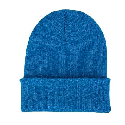 54c4a6eb75c Amazon.com   Miki Da Winter Hats Korean Casual Set Head Men Women Knit Cap  Elastic Gorro warm Wool Hat blue   Sports   Outdoors