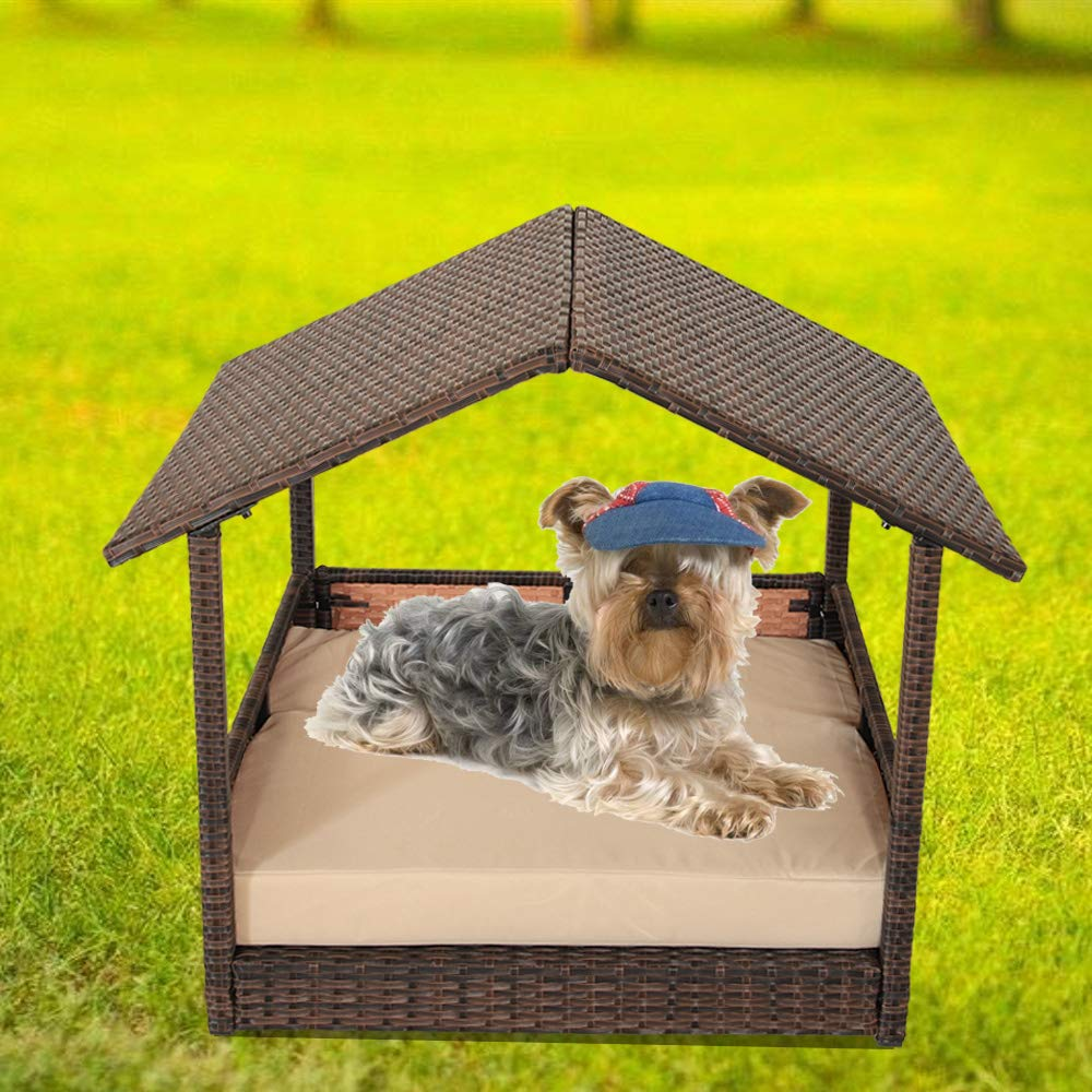 LEAPTIME Outdoor Rattan Pet Home Indoor Patio Pet Dogs House Garden Wicker Bed for Pet with Cushion