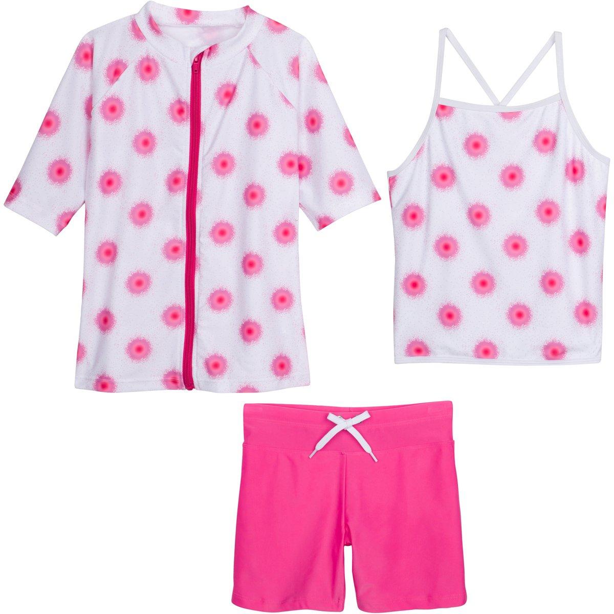 SwimZip Girls Short Sleeve Rash Guard Swim Shorts Set UPF 50+ Sun Protective Zipper Pink 12-14 SZISSSHORTSET3PC11