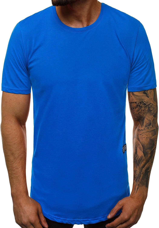 T-Shirt Tee Kurzarm Shirt Basic Unifarben Rundhals Classic Casual Herren OZONEE