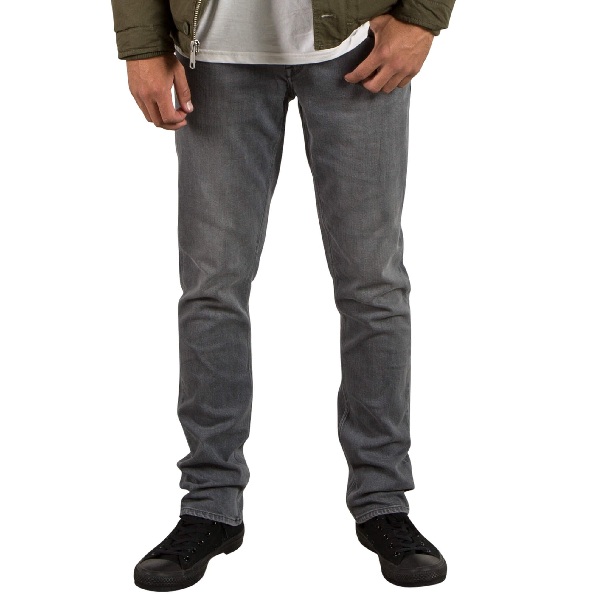 Volcom Men's Vorta Slim Fit Stretch Denim Jean, Power Grey, 36X34
