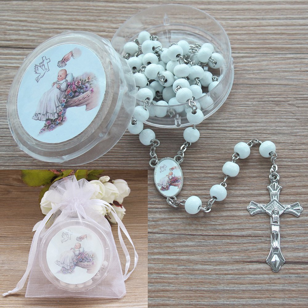 Baby Baptism Rose Petal Scented White Rosary Favor - 12 PCS Wood Rosaries with Individual Gift Box and Bags/Recuerdos de Bautizo Christening Boy Girl