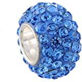 Housweety Bijou En Argent 1 Perle Strass Argent sterling 925 pour Bracelet Charms 12x7mm
