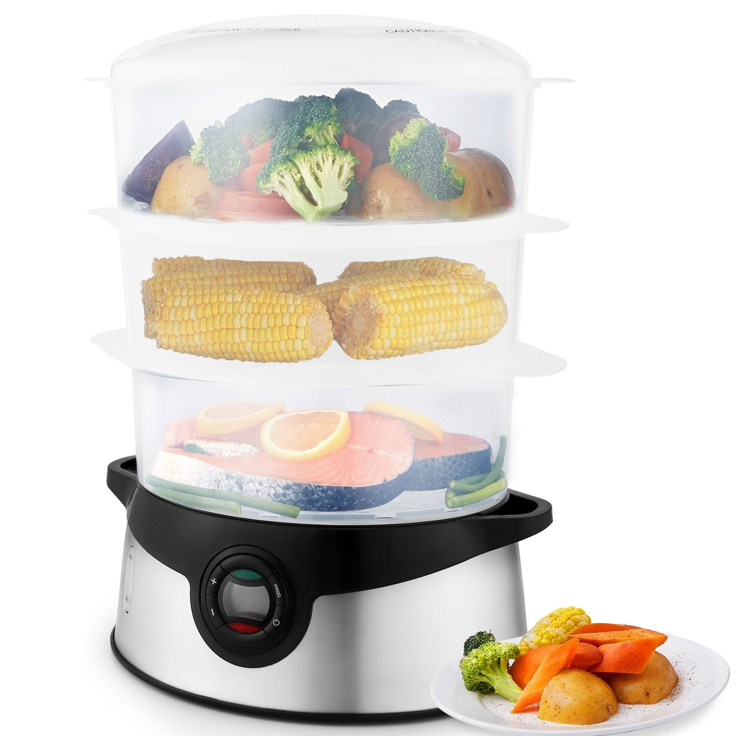 Three Tiers Electric Food Steamer Steam Cooker Vegetable Steamer BPA Free,Low-Fat Dishes Home Kitchen Favor, Healthy Stainless Steel (Clear Gray)