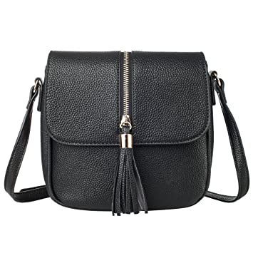 ce68a638670a Buy La CLE Soft Leather Tassel Medium Small Saddle Crossbody Shoulder Flap  Bag with Lichee Pattern Online at Low Prices in India - Amazon.in