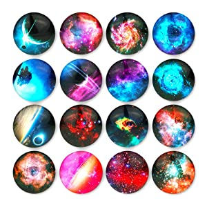 Starry Sky Pattern Refrigerator Magnets - 16 Pack Fridge Magnets for Refrigerator Office Cabinets Whiteboards Photo, 1.35 Inches Diameter, Best Housewarming Home Decorations Gift.