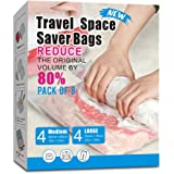 8 Packs Travel Vacuum Storage Bags, Portable Compressed Space Saver Bags Roll-Up Zipper Vacuum Bags
