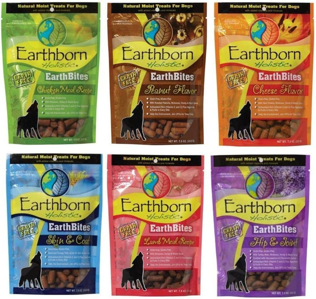 Earthborn Holistic EarthBites Grain-Free Gluten-Free Natural Moist Dog Treats 3 Flavor Variety Bundle 7.5 Oz. Ea
