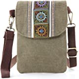 Vintage Embroidered Canvas Small Flip Crossbody Bag Cell Phone Pouch for Women Wristlet Wallet Bag Coin Purse