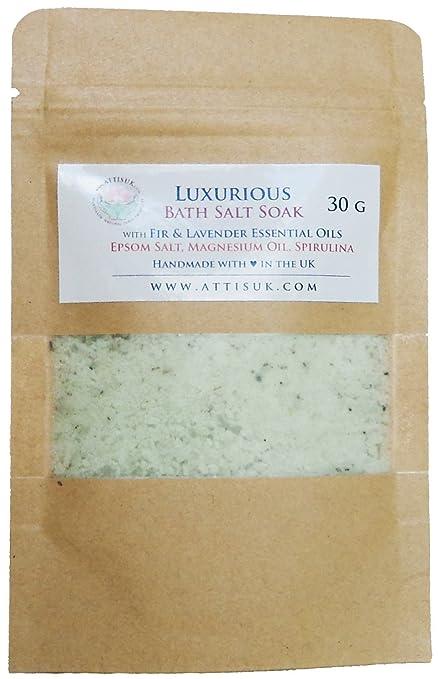ATTIS Lujoso jabón de sal de baño con aceites esenciales de abeto y lavanda, aceite
