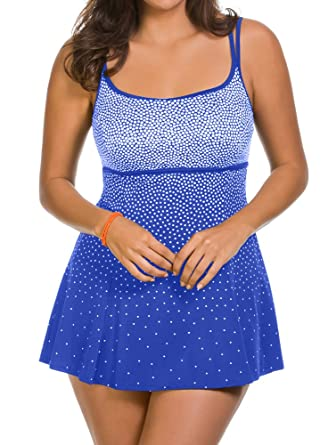 7c6869b343565 Longitude Robby Len Plus Summer Storm Empire Princess Swimdress Blue 24W at  Amazon Women's Clothing store: