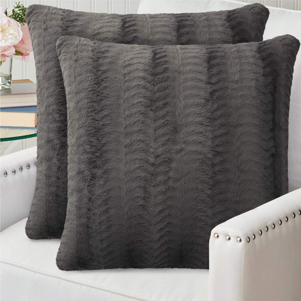 The Connecticut Home Company Original Faux Fur PIllowcases Set of 2, Decorative Case Sets, Many Colors, Throw Pillow Covers, Luxury Soft cases for Bedroom, Living Room Sofa, Couch and Bed, 18x18, Gray