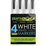 Crafty Croc 4 White Liquid Chalk Markers, 6mm Reversible Tip