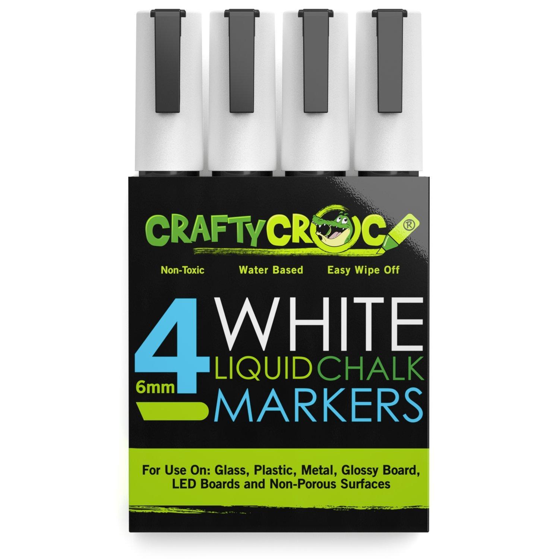 Crafty Croc 4 White Liquid Chalk Markers, 6mm Reversible Tip