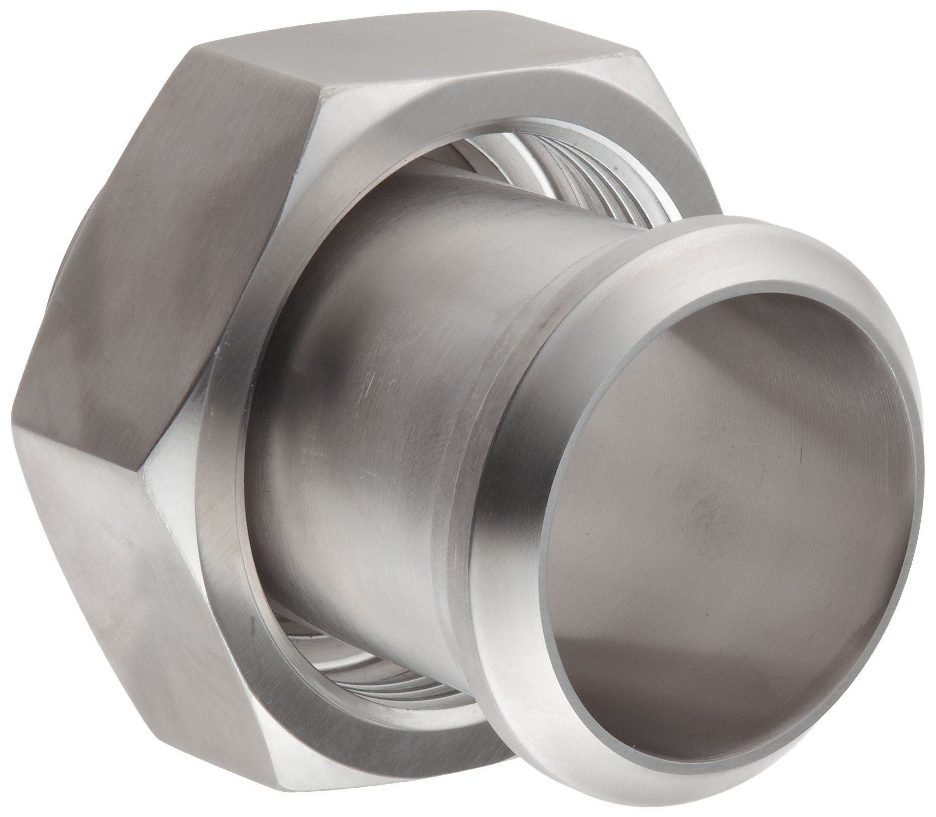 Dixon 17MP-14-G200 Stainless Steel 304 Sanitary Fitting, Plain Bevel Seat Adapter with Hex Nut, 2'' Tube OD