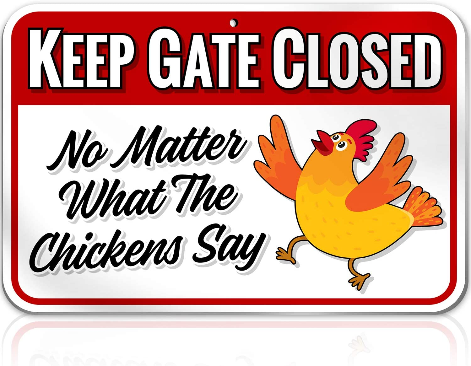 Chicken Warning Sign Danger Keep Gate Closed: No Matter what the Chickens Say - 9 inch x 12 inch - Funny Gag Gifts for Chicken Fan Lovers - 1/8 inch Thick PVC - Indoor / Outdoor - Chickens Plaque