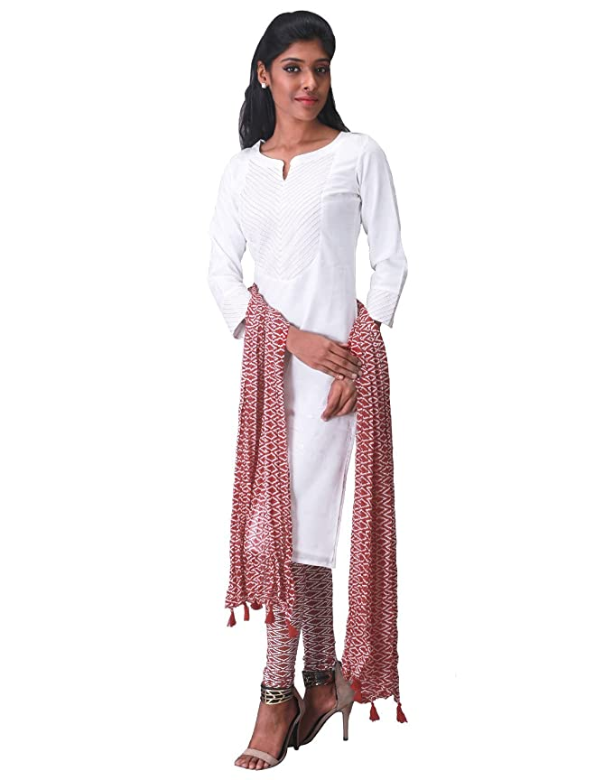 6e16756afca4b6 3Pce Set - eSTYLe Pure White Kurta with Printed Leggings and Dupatta:  Amazon.in: Clothing & Accessories