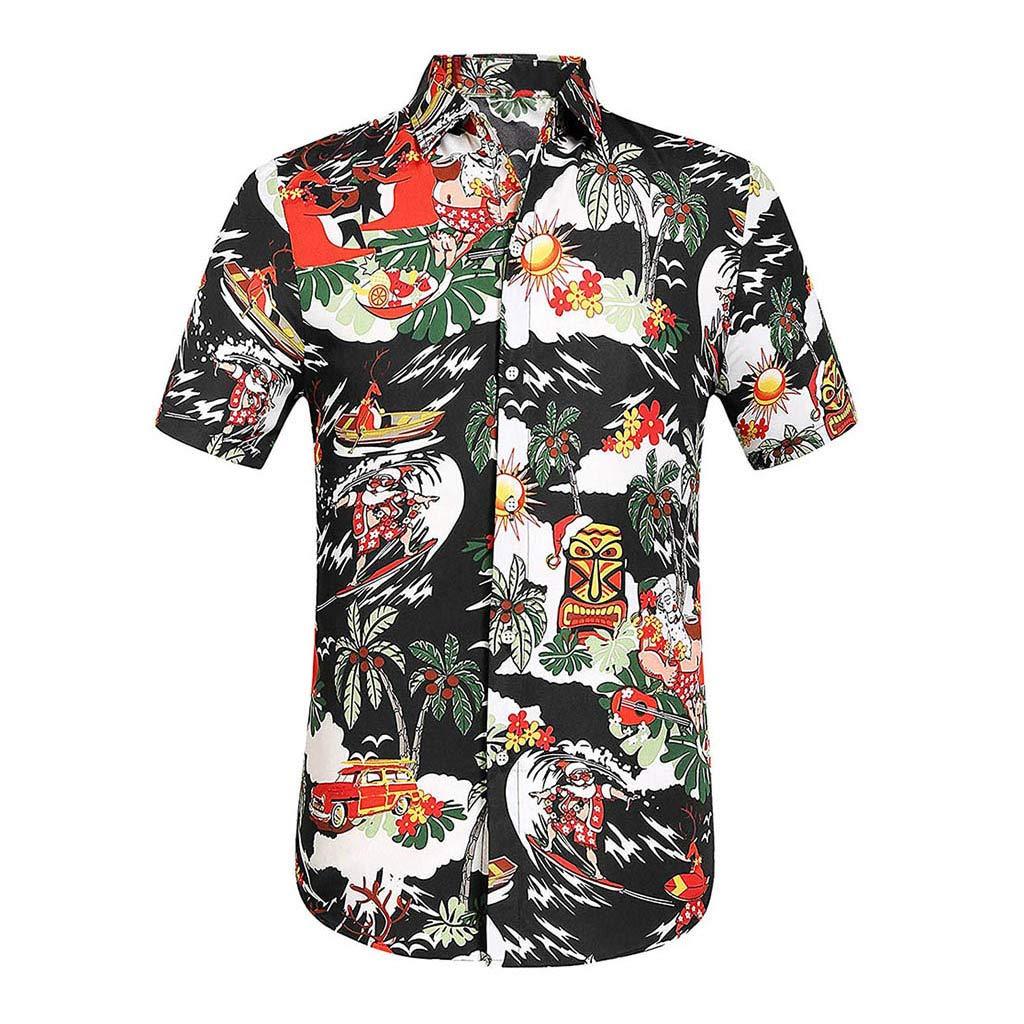 YOMXL Men's Hawaiian Top Summer Tropical Printed Button Down Shirt Casual Standard-Fit T-Shirt Short Sleeve Black by YOMXL
