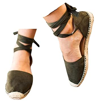 f28c46824503f Amazon.com: Flat Lace Up Sandals Shoes Summer Chunky Holiday Sandals ...
