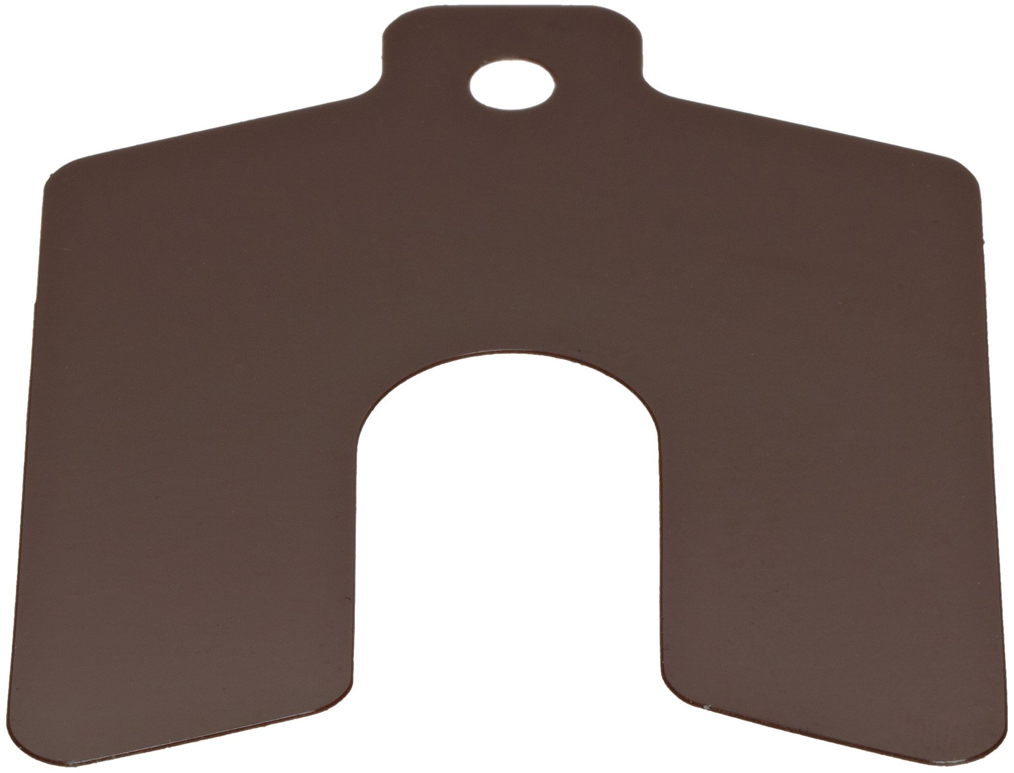 PVC (Polyvinyl Chloride) Slotted Shim, Brown, 0.010'' Thickness, 2'' Width, 2'' Length, 0.625'' Slot Width (Pack of 20) by Small Parts