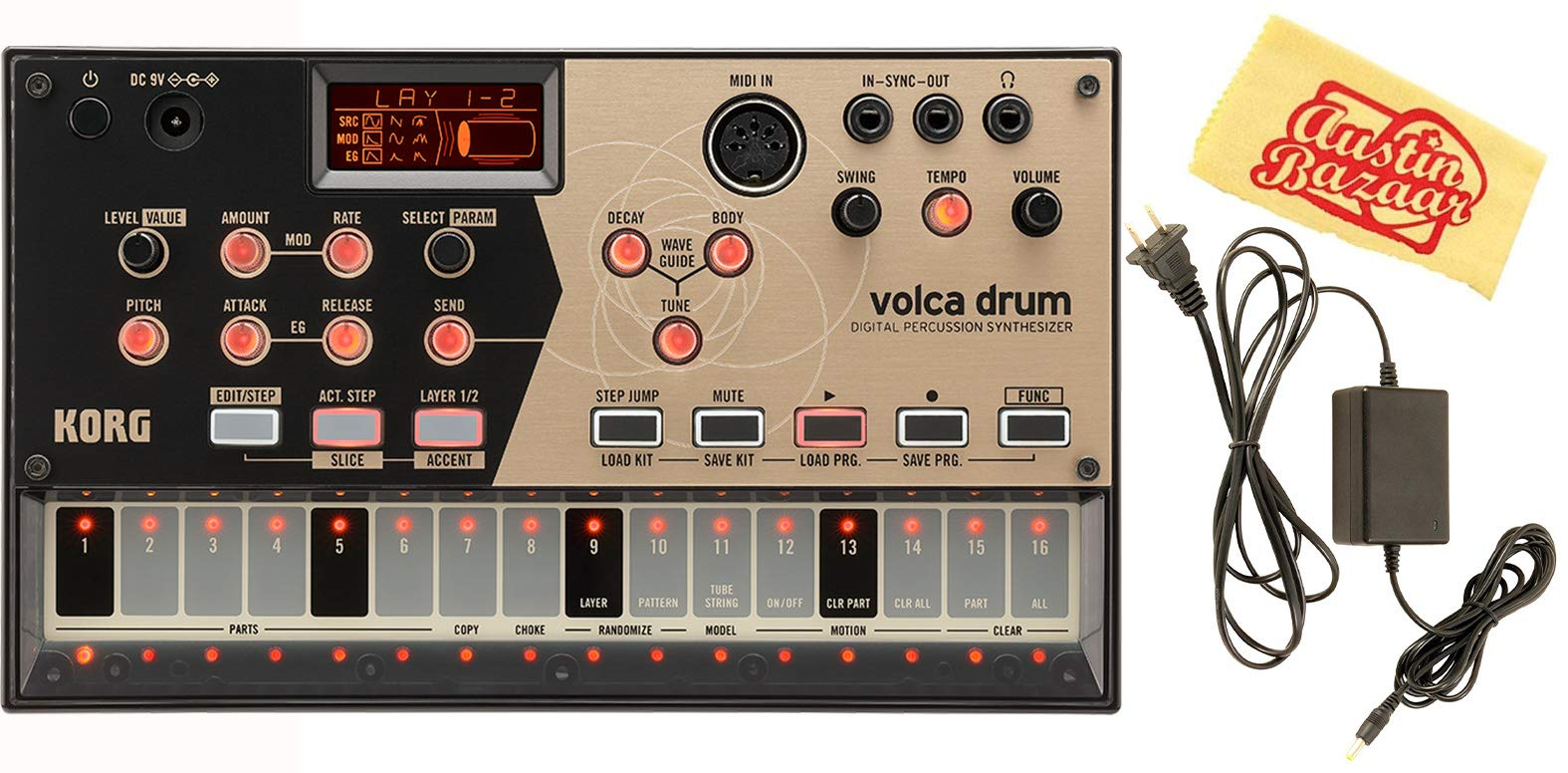 Korg Volca Drum Digital Percussion Synthesizer Bundle with Power Supply and Austin Bazaar Polishing Cloth by Korg