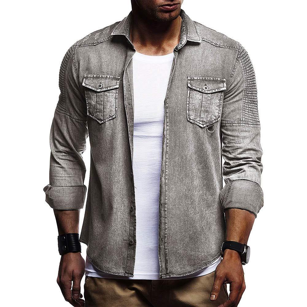 Blusa de Hombre de BaZhaHei, Camisas de botón de Corte Slim Casual para Hombre con Blusa de Manga Larga de Bolsillo del Camiseta con Bolsillo de Hombre ...