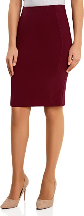 oodji Collection Mujer Falda Recta de Tiro Alto: Amazon.es: Ropa y ...