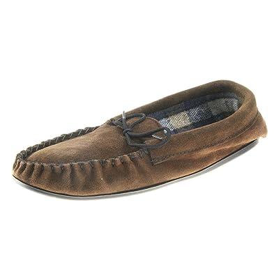 Cèdre fabriqué en Angleterre Mesdames en daim Marron en Cuir Doublé en coton pantoufles