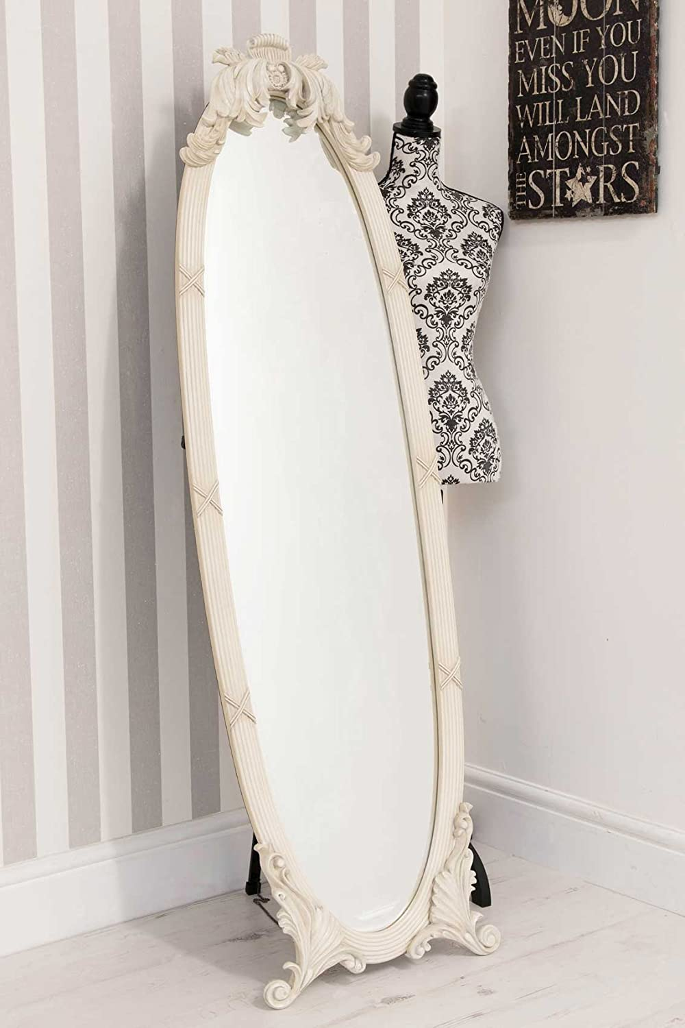 Large Antique Ornate Cream Oval Cheval Mirror 5ft5 X 1ft7 Amazon Co Uk Kitchen Home